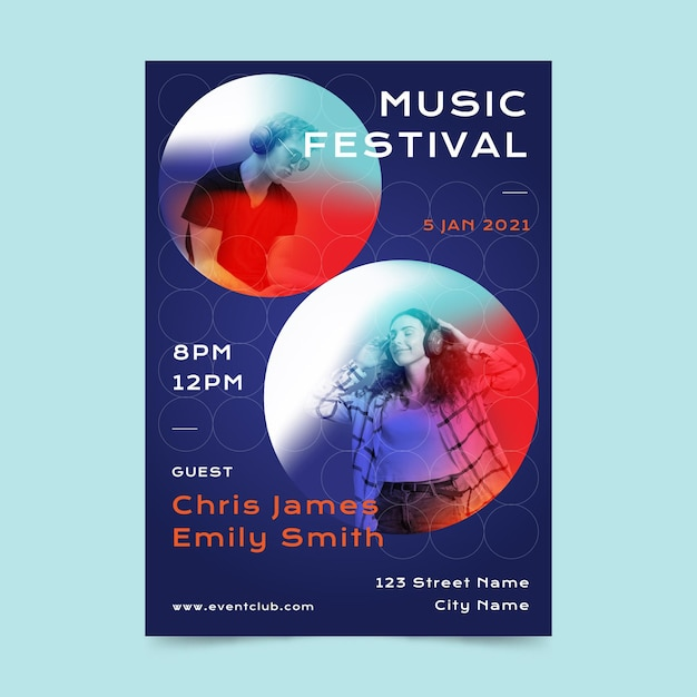 Illustrated music festival poster template Free Vector