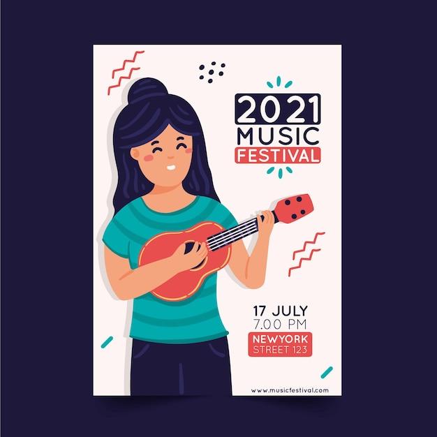 Иллюстрированный плакат музыкального фестиваля Бесплатные векторы