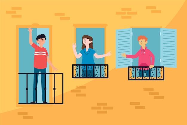 Иллюстрированные соседи разговаривают на балконах Premium векторы