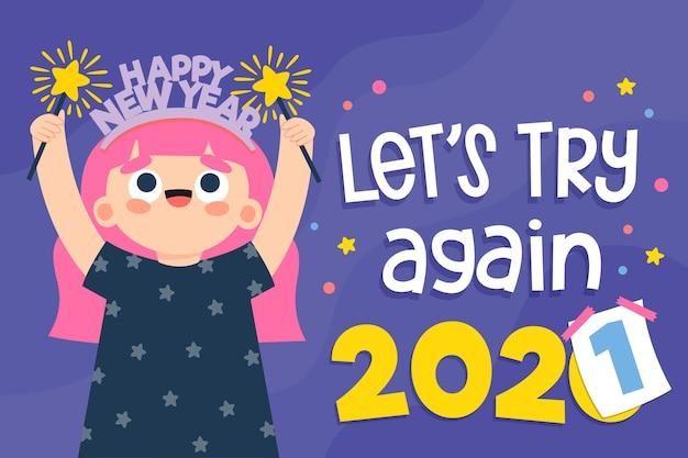 図解された新年2021年の背景 無料ベクター