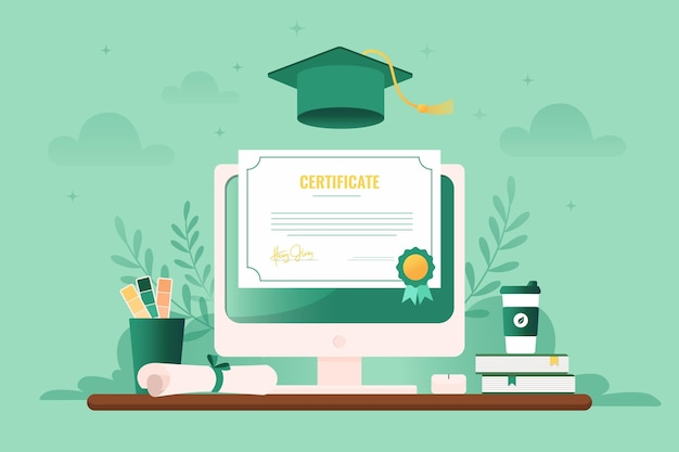 Illustrated online certification on computer screen Free Vector