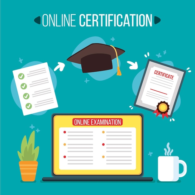 Illustrated online certification concept Free Vector