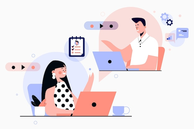 Illustrated online job interview Free Vector