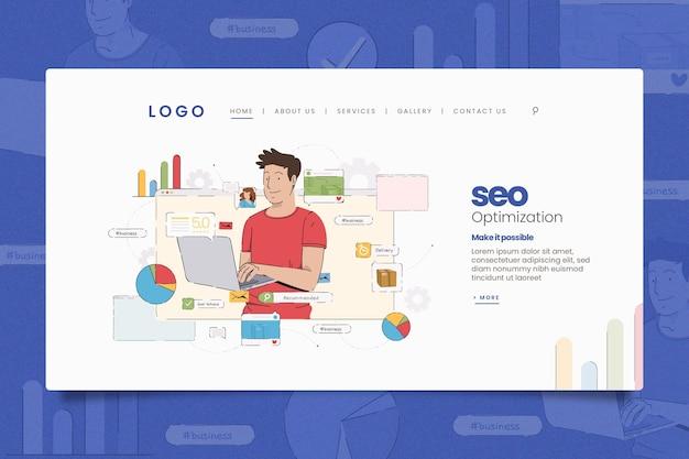 Иллюстрированный шаблон целевой страницы интернет-маркетинга Бесплатные векторы