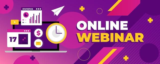 Banner webinar online illustrato Vettore gratuito
