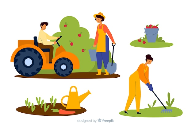 Illustrated pack of farmers working Free Vector