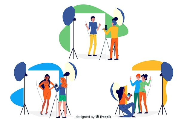 Illustrated pack of photographers working Free Vector