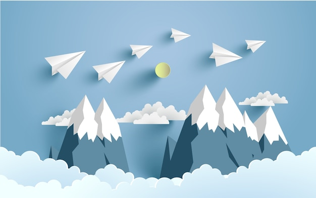 Illustrated Paper Plane For Background Poster Or Wallpaper Art Design Premium Vector