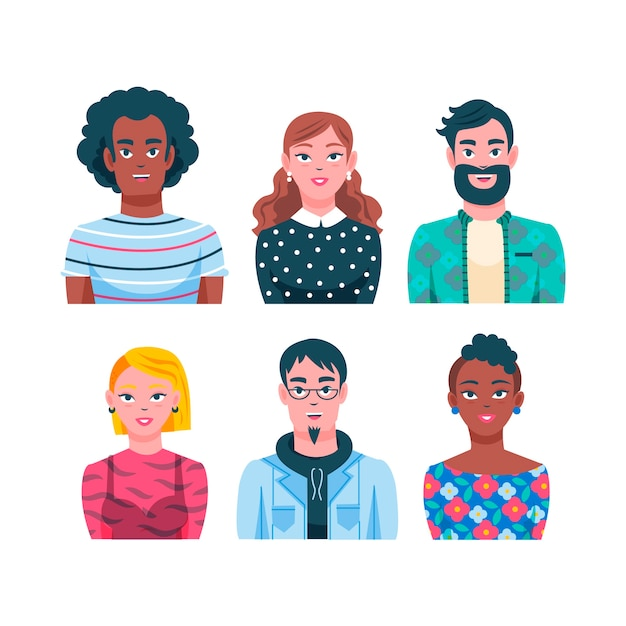 Illustrated people avatars concept Free Vector
