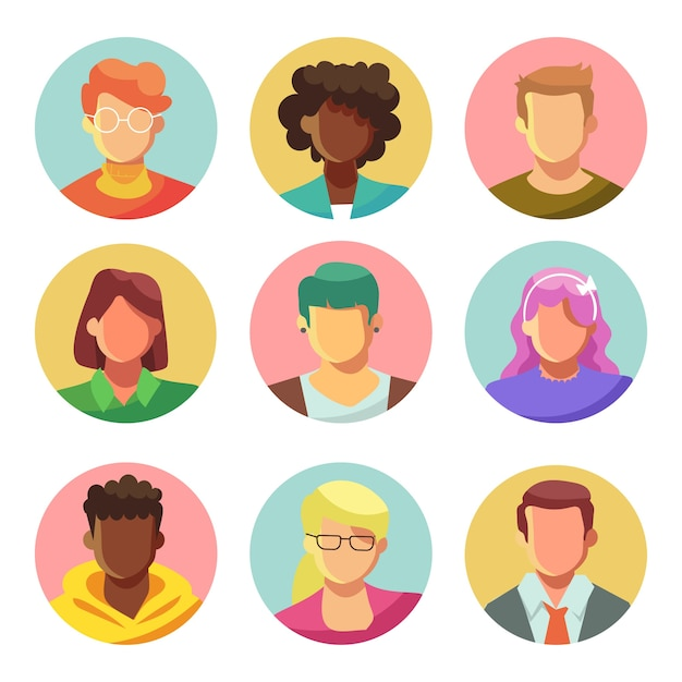Illustrated people avatars pack Premium Vector