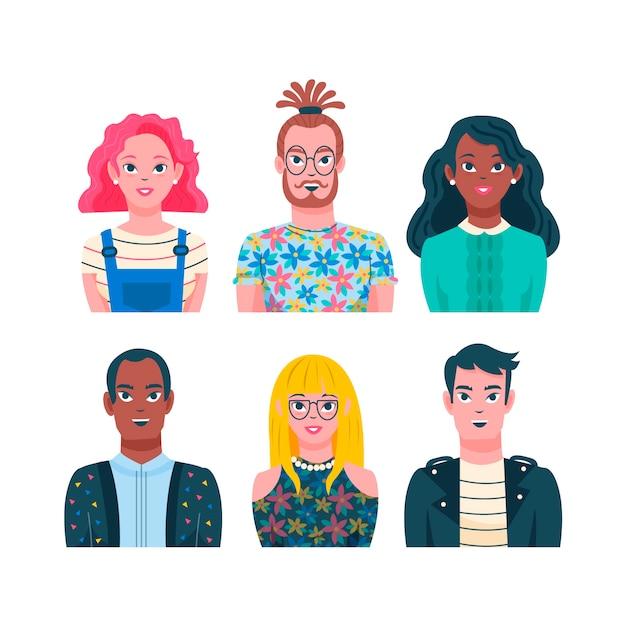 Illustrated people avatars theme Free Vector