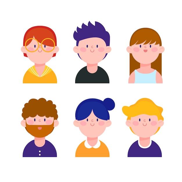 Illustrated people avatars Free Vector