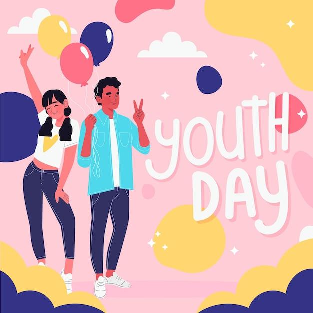 Иллюстрированные люди празднуют день молодежи Бесплатные векторы