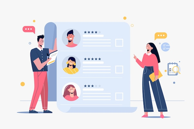 Illustrated people choosing a new worker Free Vector