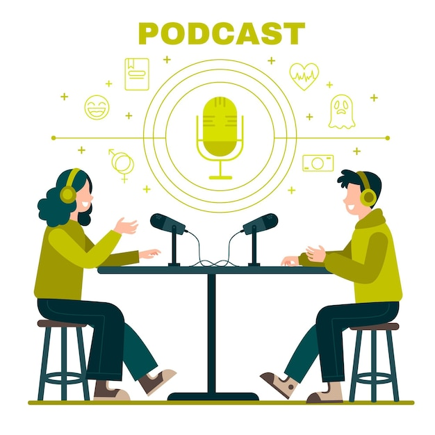 Illustrated people doing a podcast Free Vector