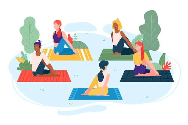 Illustrated people doing yoga outside Free Vector