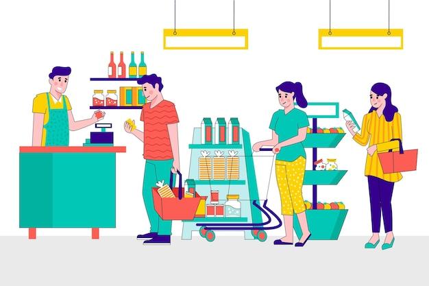 Иллюстрированные люди покупают продукты Бесплатные векторы
