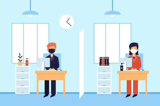 オフィスでの社会的距離を示す図解された人々 無料ベクター