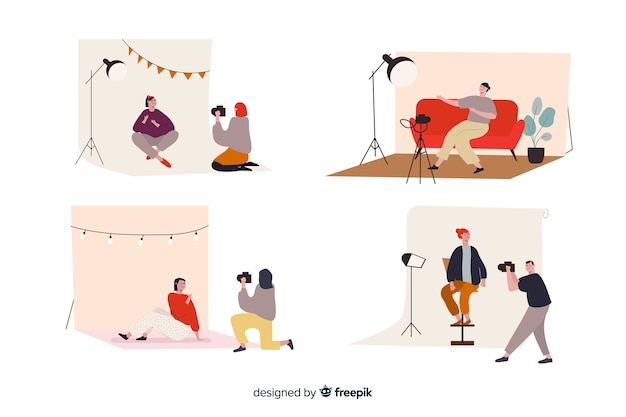 Illustrated photographers taking different shots Free Vector
