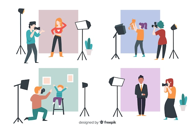 Illustrated photographers taking shots with different models Free Vector