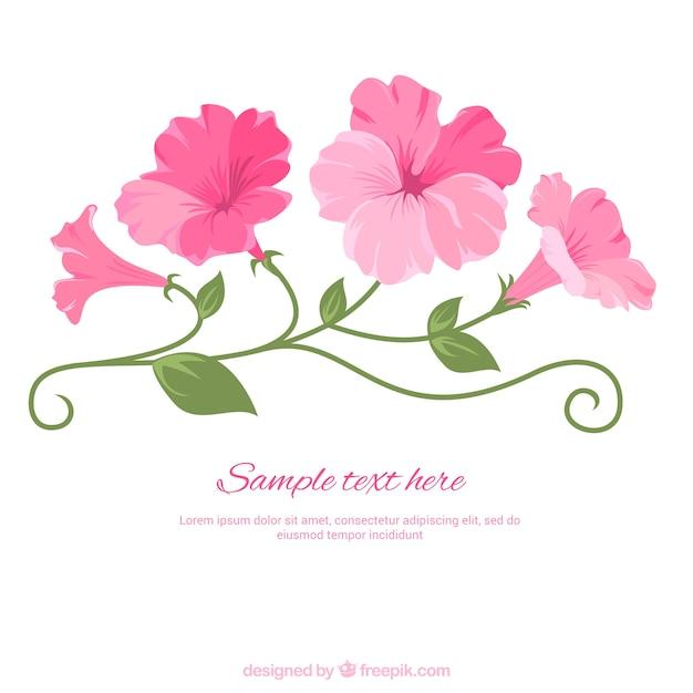 Illustrated pink flowers Premium Vector