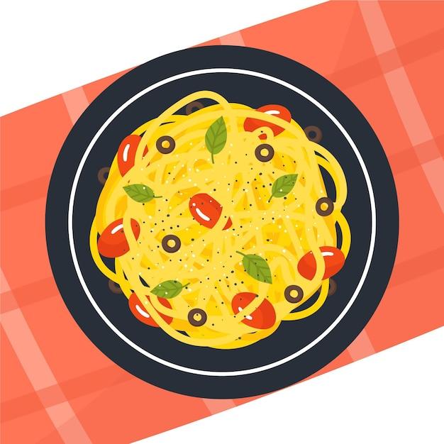 Иллюстрированная тарелка со спагетти Premium векторы