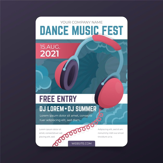 Illustrated poster music festival Free Vector