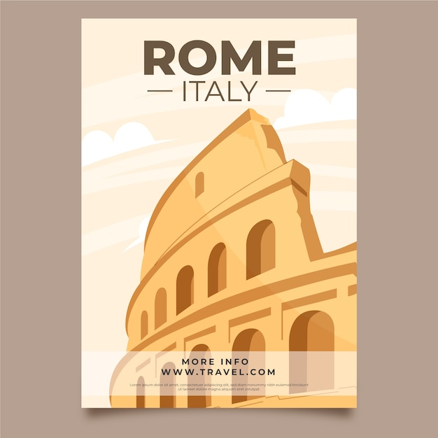 Illustrated poster template for travel Free Vector