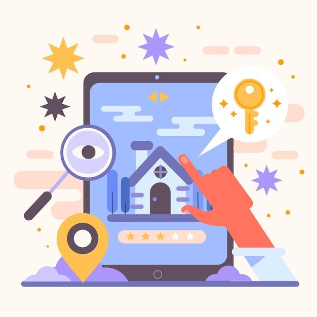 Иллюстрированная концепция поиска недвижимости Бесплатные векторы