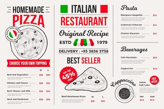 デジタルプラットフォームのイラスト付きレストランメニュー 無料ベクター