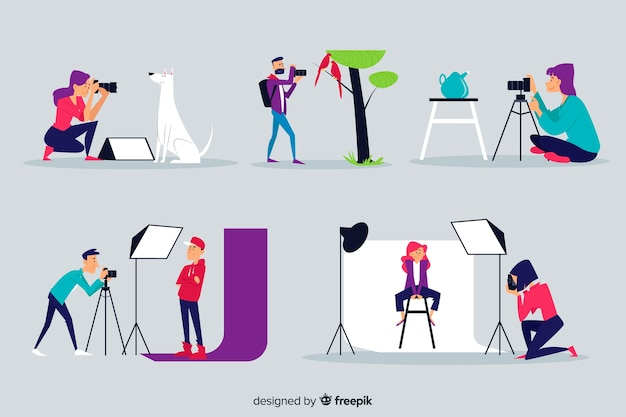Illustrated set of photographers working Free Vector