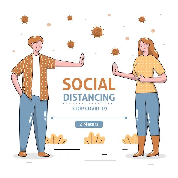 Concetto di distanziamento sociale illustrato Vettore gratuito
