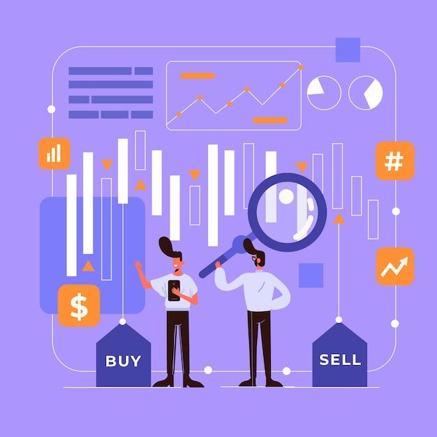 証券取引所のデータコンセプトを示す 無料ベクター