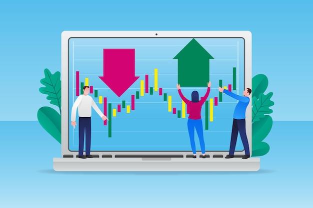 Illustrated stock exchange data Free Vector