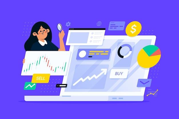 イラスト付き株式市場分析の概念 無料ベクター