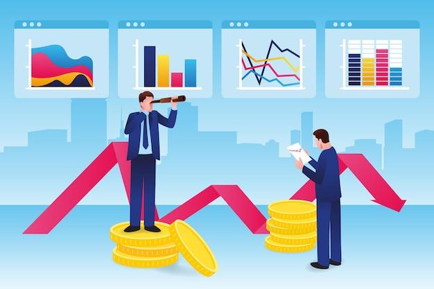 Illustrated stock market analysis Free Vector