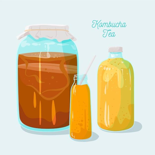 Tè dolce illustrato di kombucha Vettore gratuito