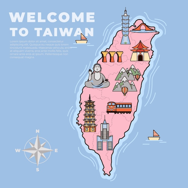 Illustrated taiwan map with different landmarks Premium Vector