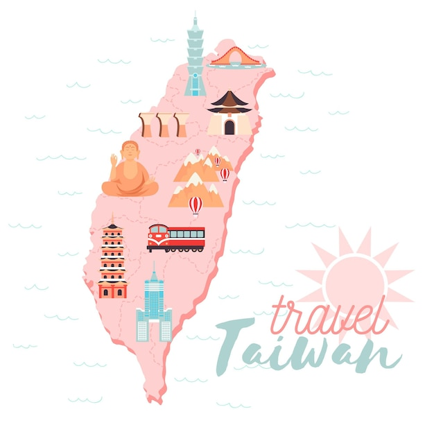 Illustrated taiwan map with pale colors Premium Vector