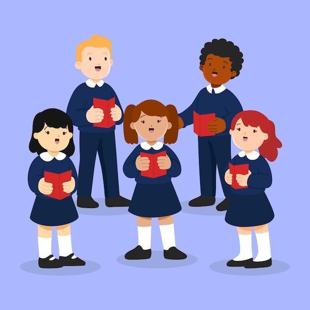 Иллюстрированные талантливые дети поют в хоре Premium векторы