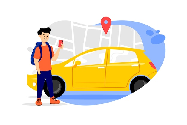 Illustrated taxi app concept Free Vector