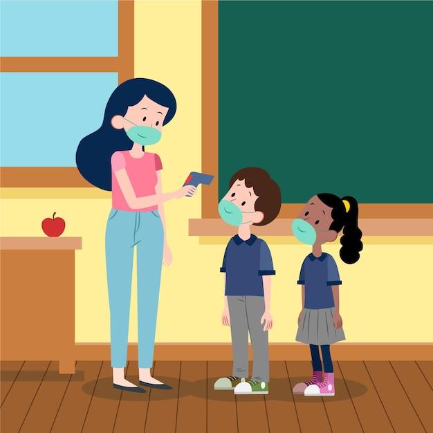 Insegnante illustrato che controlla la temperatura dei bambini Vettore gratuito