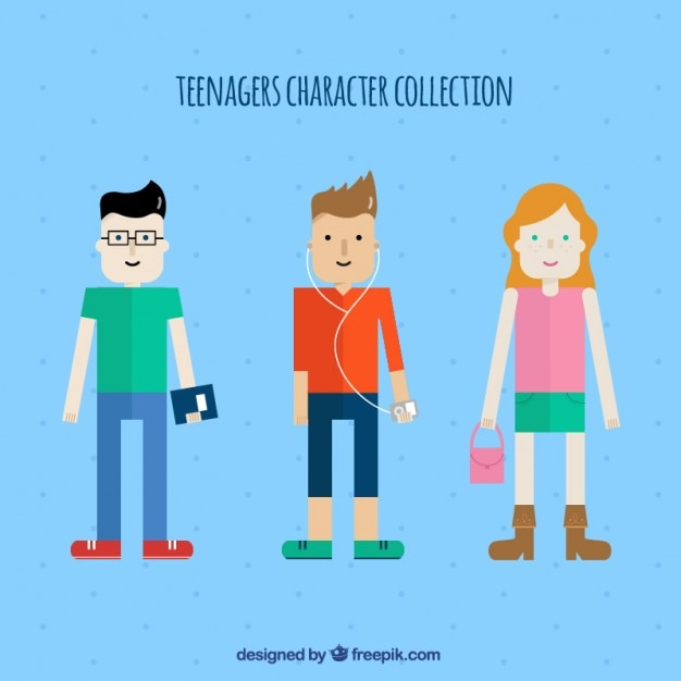 Illustrated teenager characters\ collection