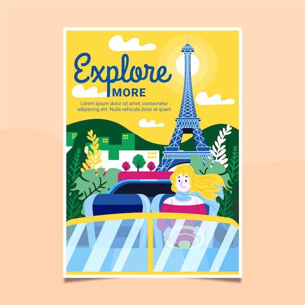 Illustrated travel poster Free Vector