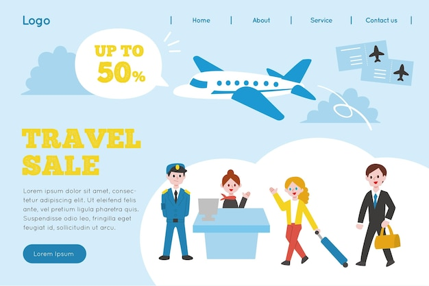 Illustrated travel sale landing page Free Vector