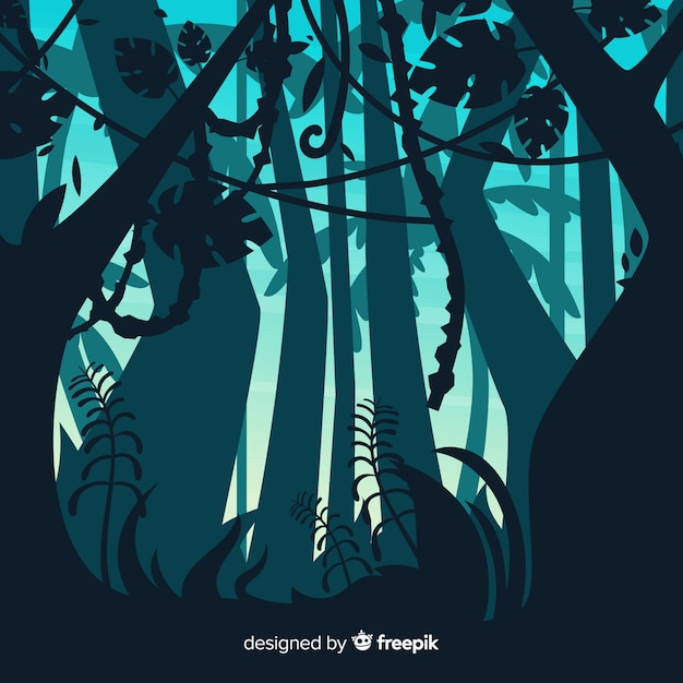 Illustrated tropical forest landscape Free Vector