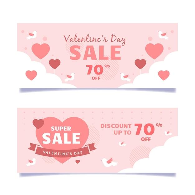 Banner di vendita illustrati di san valentino Vettore gratuito