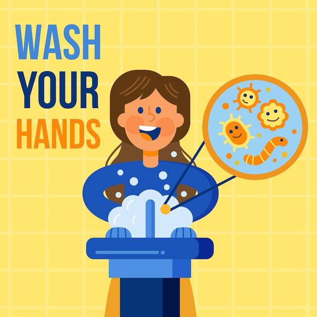 手を洗うメッセージを示す 無料ベクター