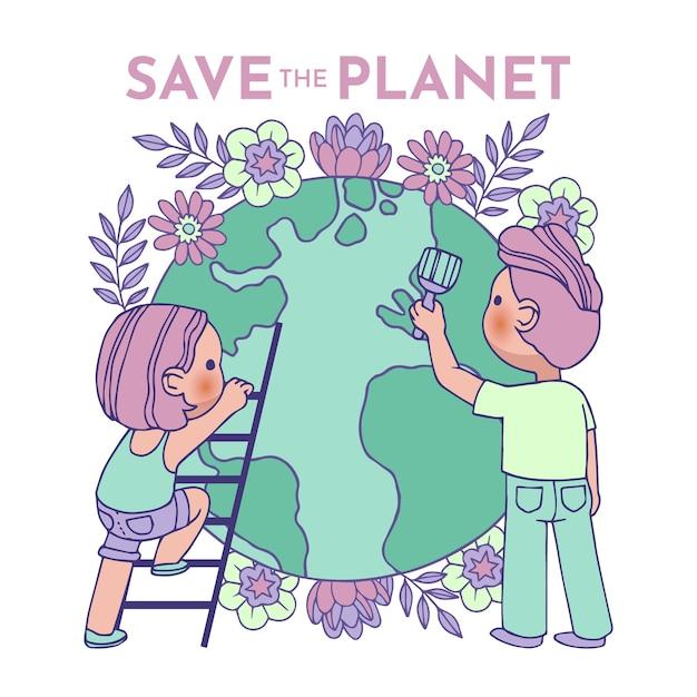 Illustrato con il concetto di salvare il pianeta Vettore gratuito