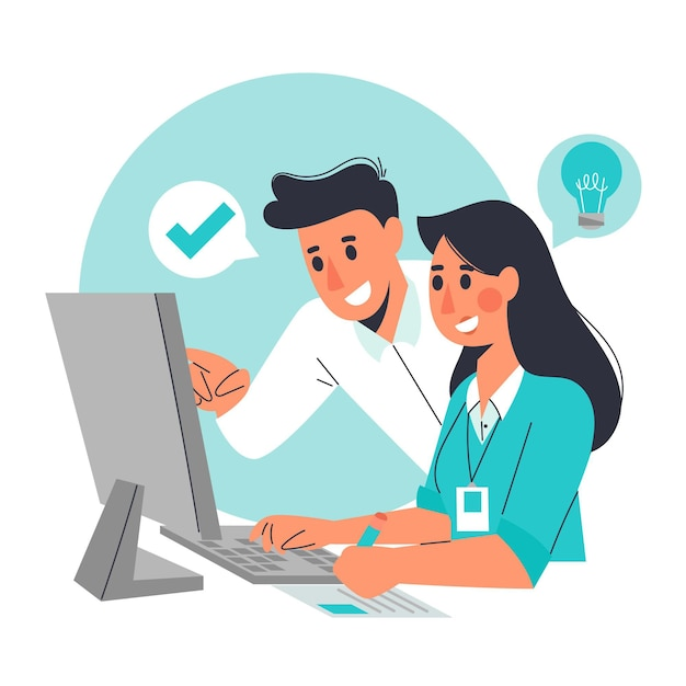 Illustrated woman being an intern at a company Free Vector